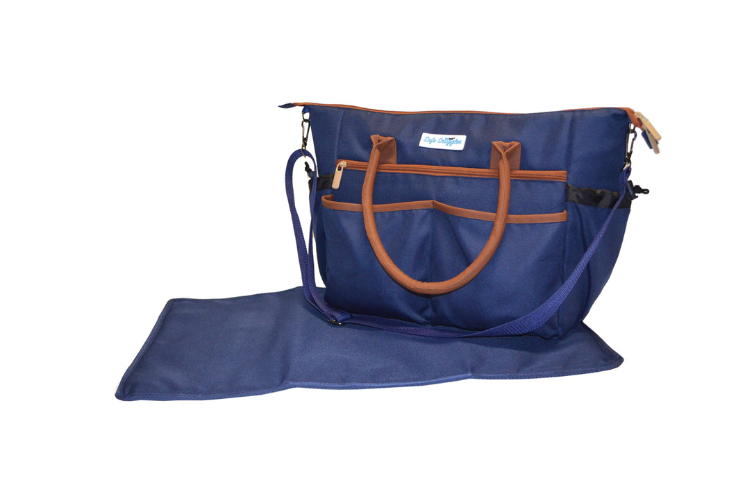 Safe Snuggler Tote Diaper Bag - Navy Front View