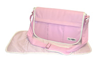 Safe Snuggler Messenger Diaper Bag - Pink Leather Front View