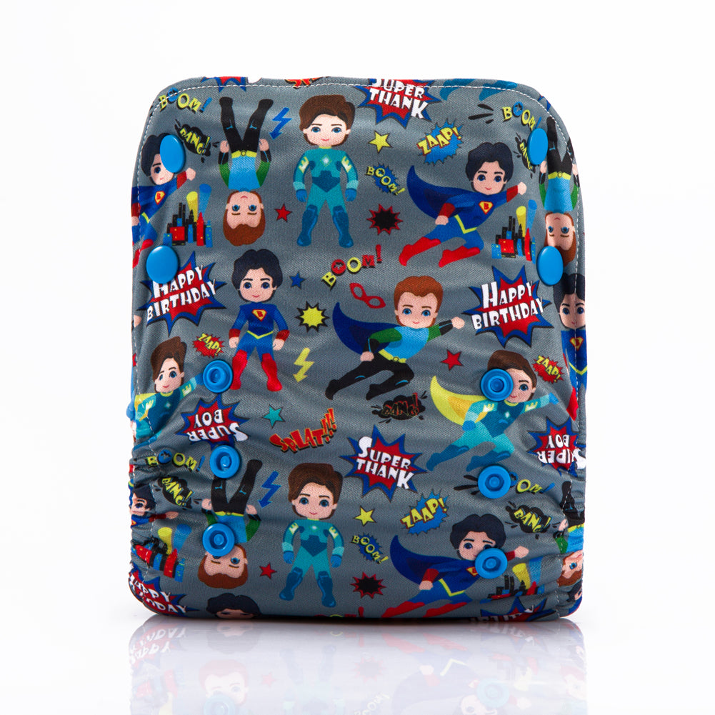 Superman! JinoBaby Bamboo Diapers One Size Fits for Newborn to 13KGS