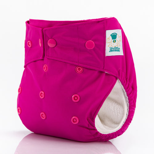 JinoBaby All In One Dry Pocket Cloth Diapers for Newtorn to Toddler - Hot Pink