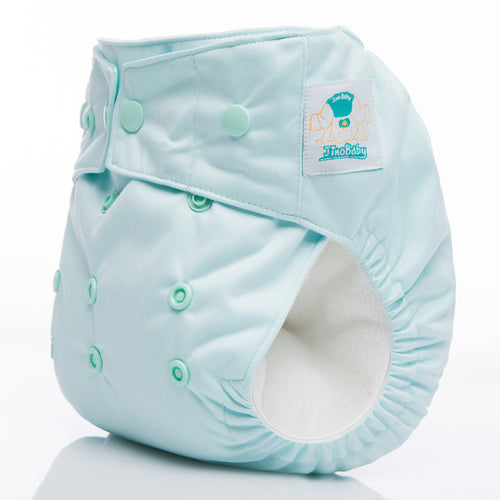 JinoBaby AIO3 All in One Stay Dry Cloth Diaper for Newtorn to Toddler - Water Green