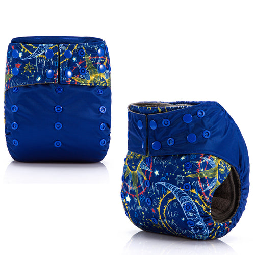Bright Night Sky! JinoBaby Charcoal Bamboo Diaper All In One Cloth Diapers Baby Pack of 2 Pieces