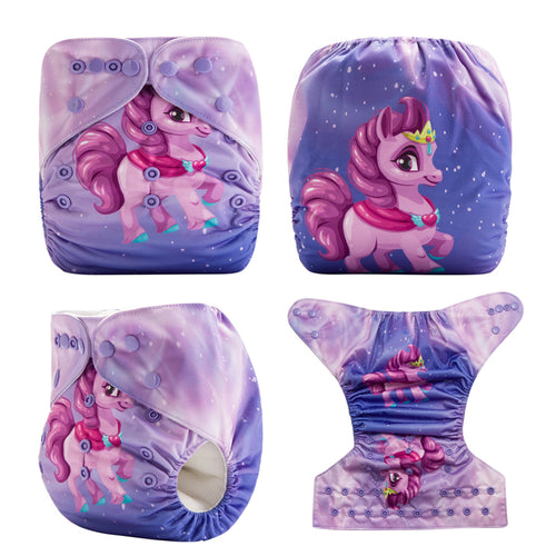 Unicorn!Super Dry Baby Pocket Cloth Diaper OS fits NB to 13KG (With 1PCS Insert)