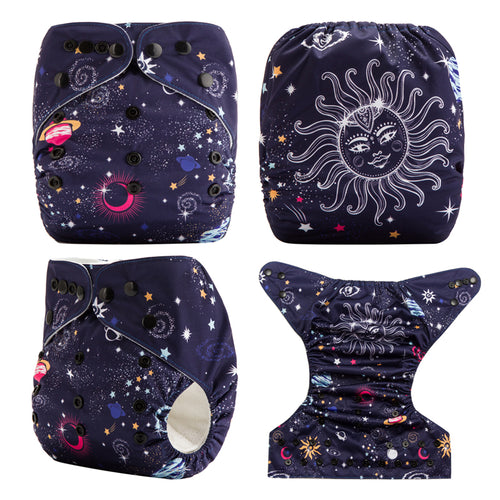 Good Night! Reusable Baby Pocket Diapers OS fits NB to 13KG (With 1PCS Insert)