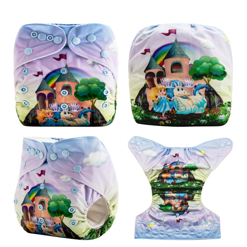 Princess's Castle! ReusableBaby Pocket Diapers OS fits NB to 13KG (With 1PCS Insert)