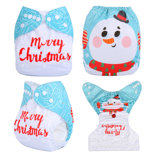Christmas Snowman Baby Fitted Diapers One Size fits NB to 13KG (With 1PCS Insert)