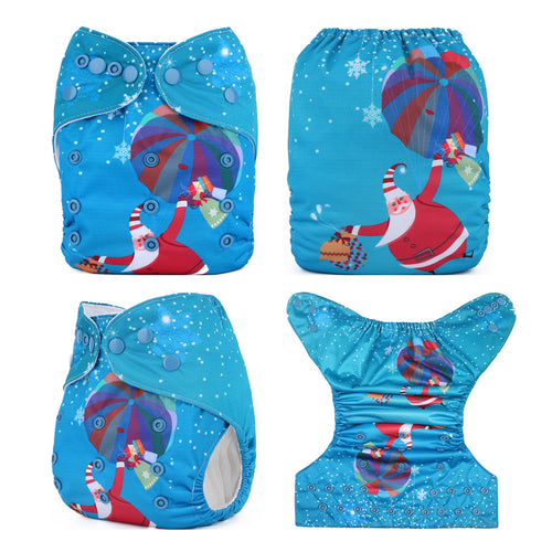 Christmas Holiday Cloth Fitted Diapers Baby One Size fits NB to 13KG (With 1PCS Insert)