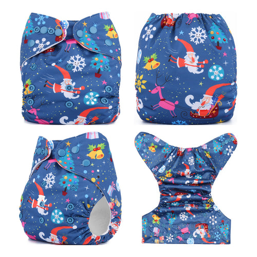 Merry Christmas Fitted Diapers Reusable Baby One Size fits NB to 13KG (With 1PCS Insert)