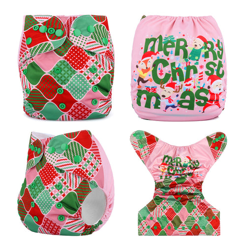 Merry Christmas Baby Reusable Fitted Diaper One Size fits NB to 13KG (With 1PCS Insert)