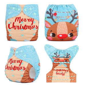 Christmas Deer Baby Reusable Diaper One Size fits NB to 13KG (With 1PCS Insert)