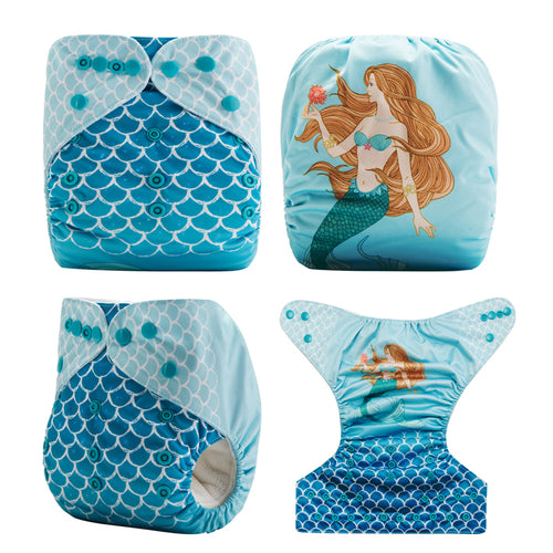 Like a Mermaid! Cute Baby Pocket Cloth Diaper OS fits NB to 13KG (With 1PCS Insert)
