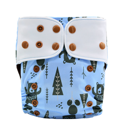 JinoBaby Diaper Baby Pants Coffee Fabric Washable Diaper Hunting Bear