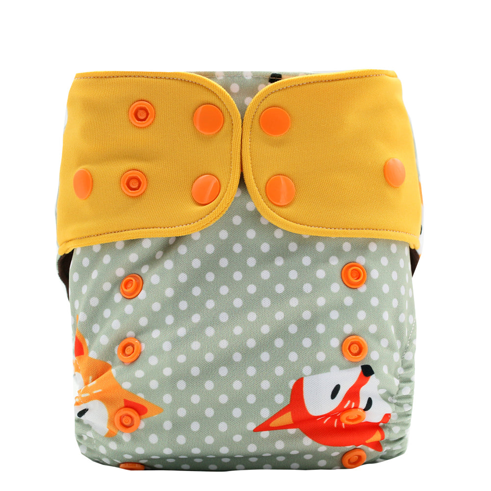 JinoBaby Fashion Fox Cloth Diaper Baby Pants Coffee Fabric Diaper