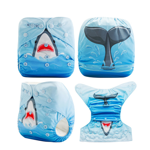 Shark in the Sea! Superfine Baby Pocket Cloth Diapers OS fits NB to 13KG (With 1PCS Insert)