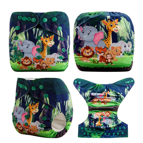 My Forest Friends! Superfine Baby Pocket Cloth Diapers OS fits NB to 13KG (With 1PCS Insert)