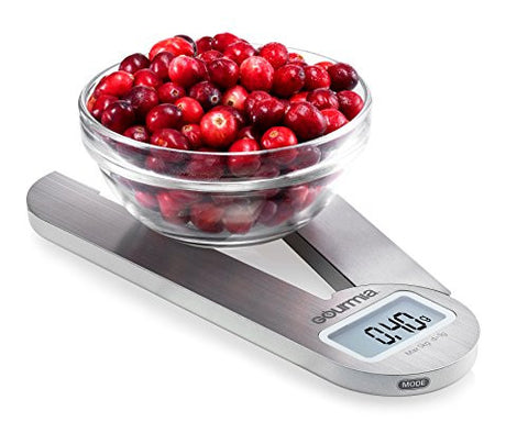 Gourmia GKS9160 Stainless Steel Folding Scale Compact Electronic Kitchen Scale Features One-Touch Tare Function- Battery Included