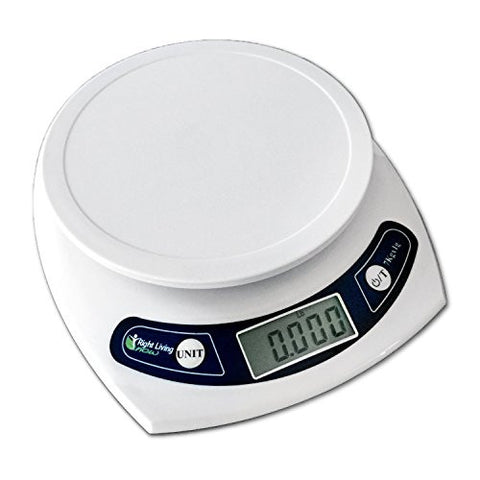 Right Living Now Multifunction Digital Kitchen Food Scale Weighs Up to 15.43lb; White; Bonus Green Silicone Butterfly