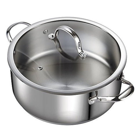 Cooks Standard Classic 02518 7 quart Stainless Steel Dutch Oven Casserole Stockpot with Lid, Large, Silver