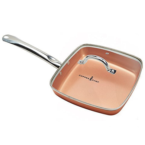 Copper Chef Square Fry Pan with Lid, 9.5 inch