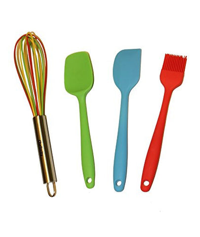 4 Piece Kitchen Utensil Set - Multi Color Silicone, for nonstick cookware. Durable Heat Resistant.