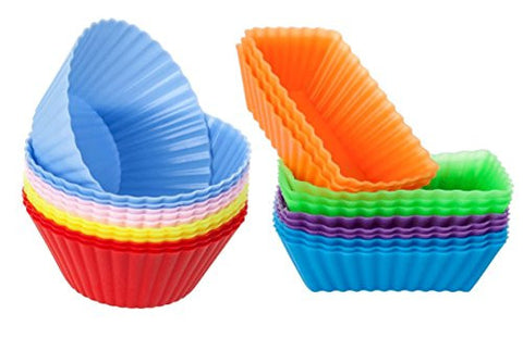 Silicone Baking Cups / Cupcake Liners - 24-pack Muffin Molds