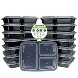 15-Pack 3 Compartment Bento Lunch Boxes with Lids