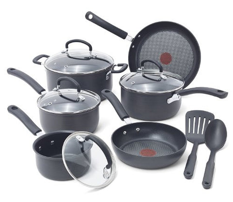 T-fal E765SC  PFOA Free Cookware Set, 12-Piece, Gray