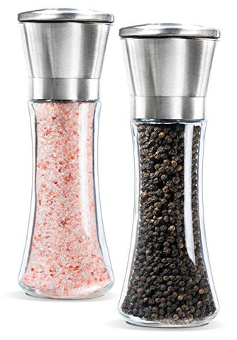 Premium Stainless Steel Salt and Pepper Grinder Set of 2- Brushed Stainless Steel Pepper Mill and Salt Mill, 6 Oz Glass Tall Body, 5 Grade Adjustable Ceramic Rotor- Salt and Pepper Shakers By Levav