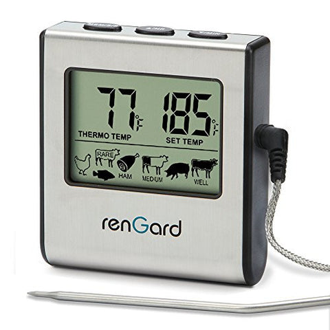 RenGard RG-16 Cooking Digital Probe Meat Thermometer with Alarm