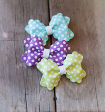 "Chartreuse green polka dots (3.5"" pinch bow)"
