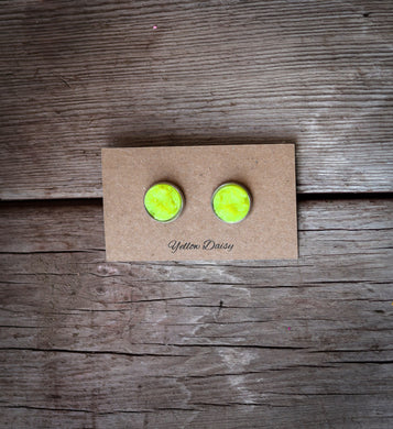 neon yellow druzy 12mm earring