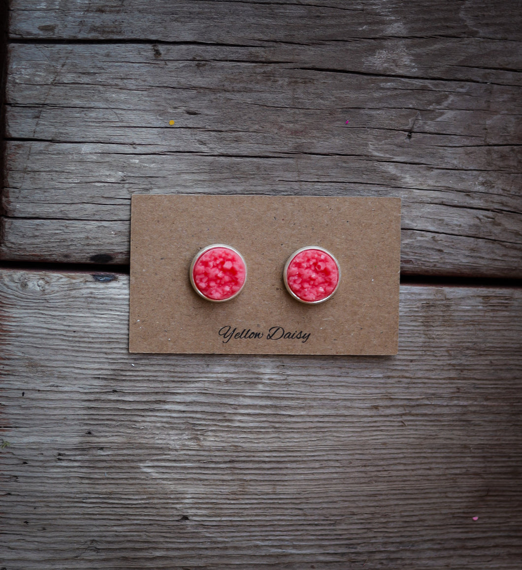 coral druzy 12mm earring