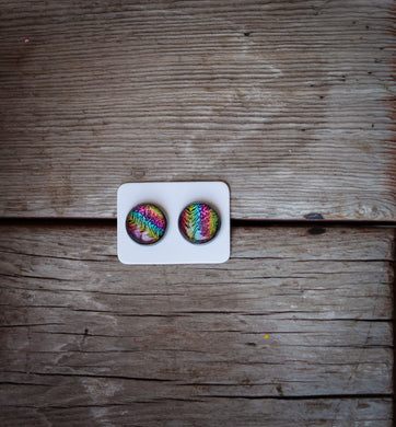Neon zebras 12mm earring