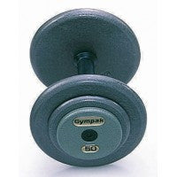 Commercial Pro-Style Grey Enamel Dumbbell - 65 LB - Straight