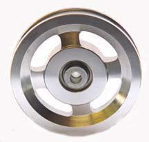 "Aluminum Pulley: 4.5"" with a 1"" Hub x 3/8"" Bore"
