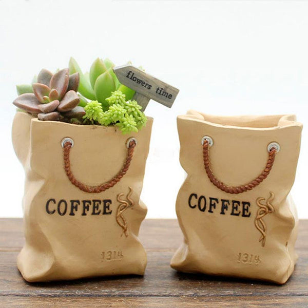 ceramic coffee bean bag flower pot