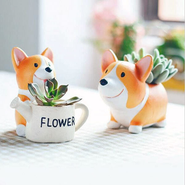 Corgi Puppy Flower Pot