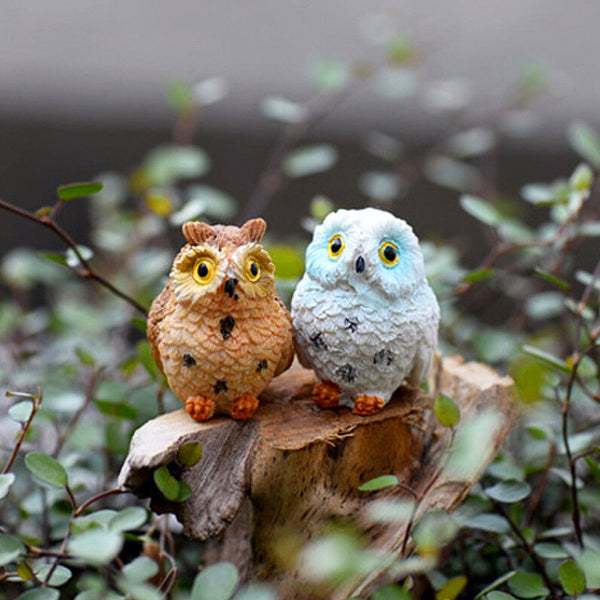 fairy garden owls on stump