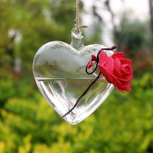 hanging heart shaped vase