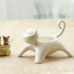 white ceramic kitty planter