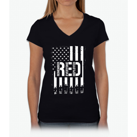 R.E.D. (Remember Everyone Deployed) Womens V-Neck T-Shirt