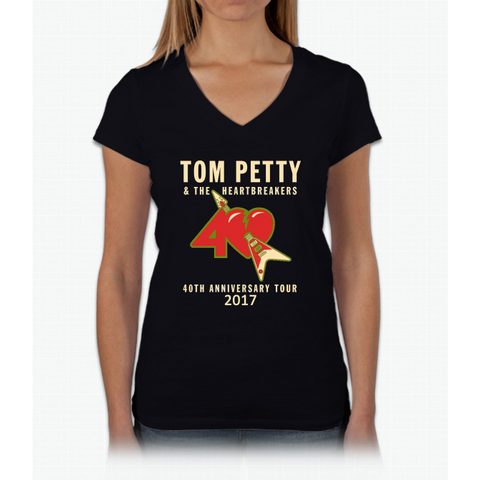 40TH ANNIVERSARY TOUR TOM PETTY Womens V-Neck T-Shirt
