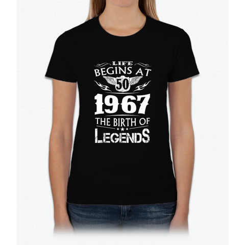 Life Begins At 50 1967 The Birth Of Legends Womens T-Shirt