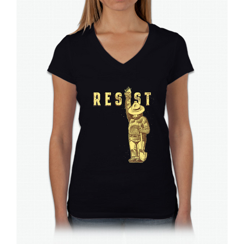"Smokey Says, ""Resist"" Womens V-Neck T-Shirt"
