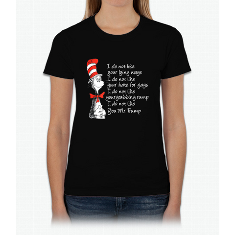 Cat in the hat hate Trump Womens T-Shirt