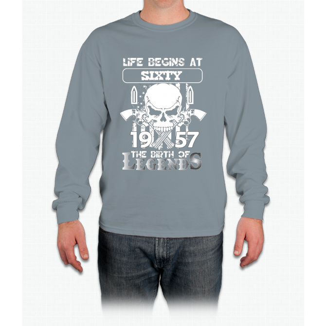 Life begins at sixty 1957 The birth of legends Long Sleeve T-Shirt
