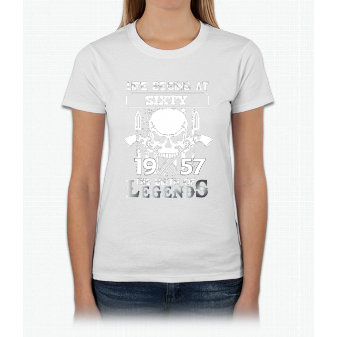 Life begins at sixty 1957 The birth of legends Womens T-Shirt