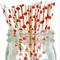 25 Pack - Quality Paper Drinking Straws - Hearts and Dots