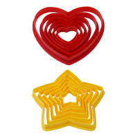 6 Pack Cookie Cutters - Heart or Star