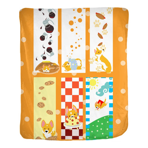 Image of Corgi bookmark velveteen Blanket